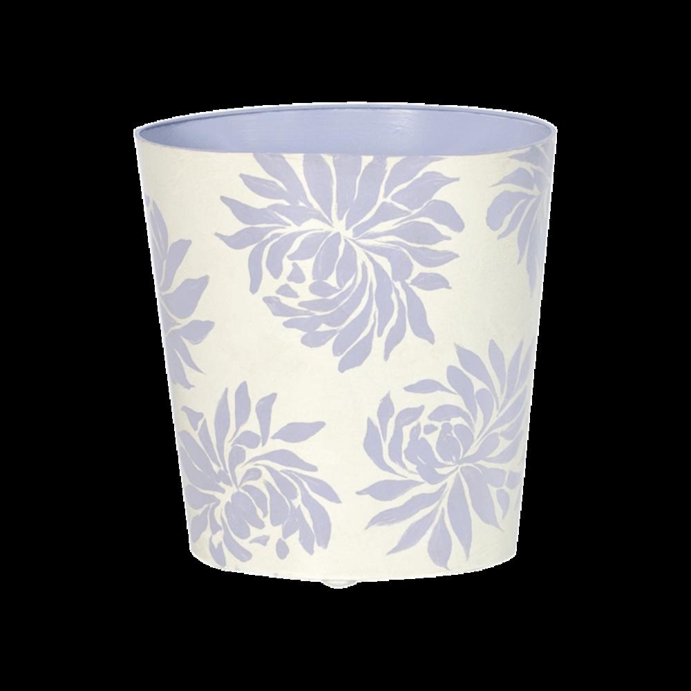 Worlds Away - Oval Wastebasket Cream with Lavender Dahlia