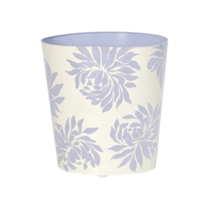 Thumbnail of Worlds Away - Oval Wastebasket Cream with Lavender Dahlia