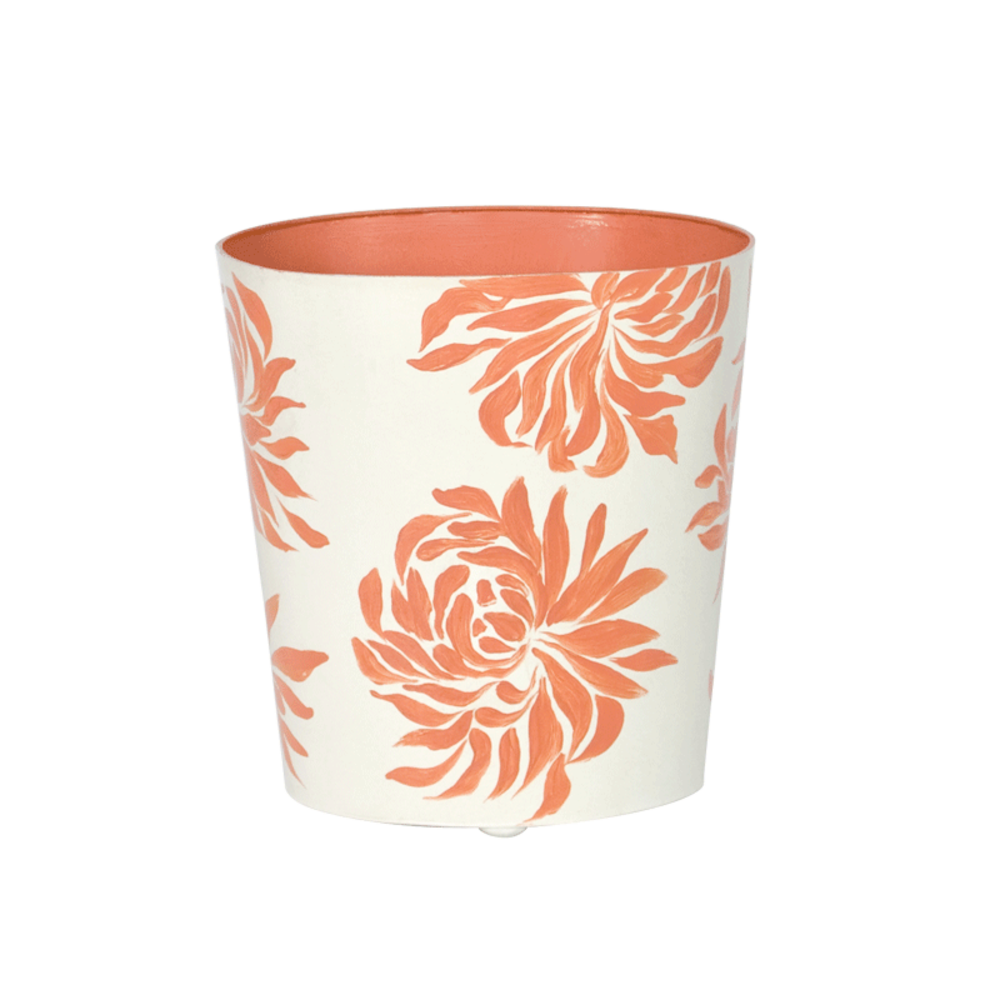 Worlds Away - Oval Wastebasket Cream with Orange Dahlia