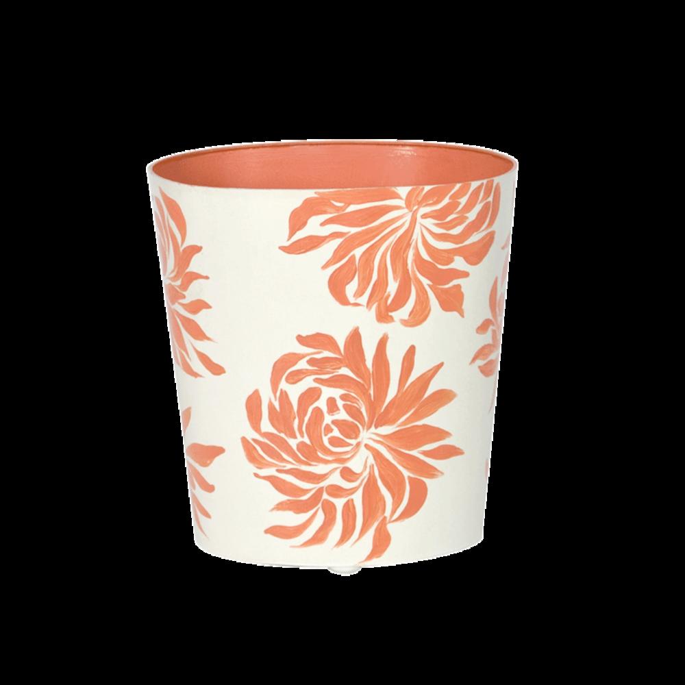 Worlds Away - Oval Wastebasket Cream with Orange Dahlia