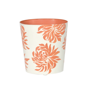 Thumbnail of Worlds Away - Oval Wastebasket Cream with Orange Dahlia
