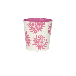 Thumbnail of Worlds Away - Oval Wastebasket Cream with Hot Pink Dahlia
