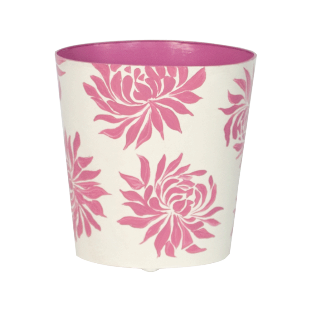 Worlds Away - Oval Wastebasket Cream with Hot Pink Dahlia