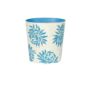 Thumbnail of Worlds Away - Oval Wastebasket With Turquoise Dahlia