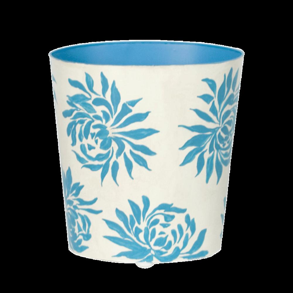Worlds Away - Oval Wastebasket With Turquoise Dahlia