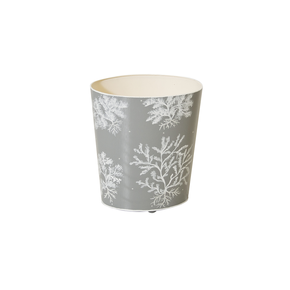 Worlds Away - Oval Wastebasket Grey and White