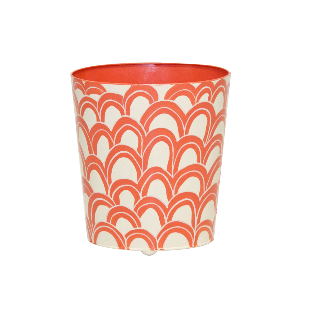 Worlds Away - Orange and Cream Wastebasket