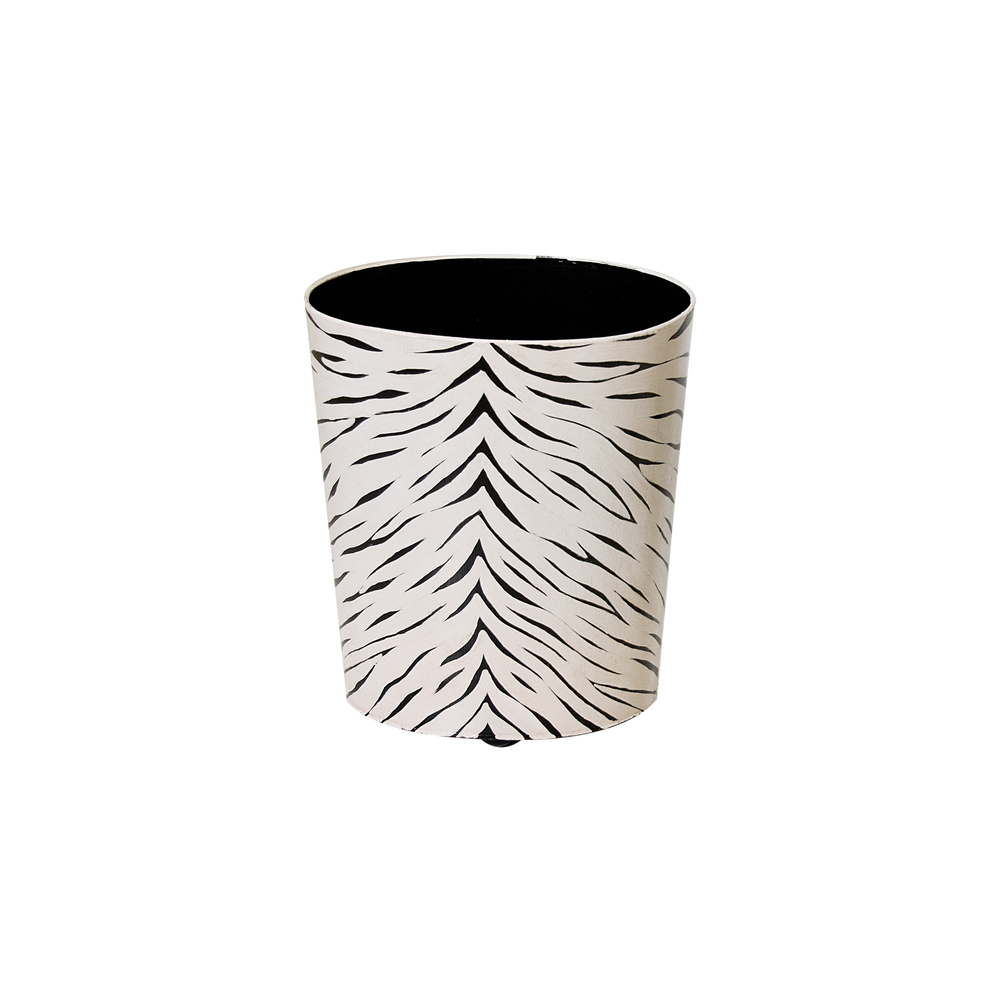 Worlds Away - Oval Wastebasket Black and Cream