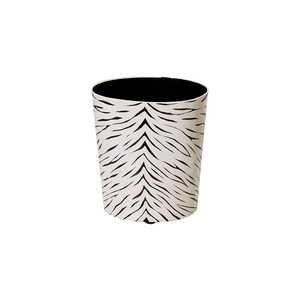 Thumbnail of Worlds Away - Oval Wastebasket Black and Cream