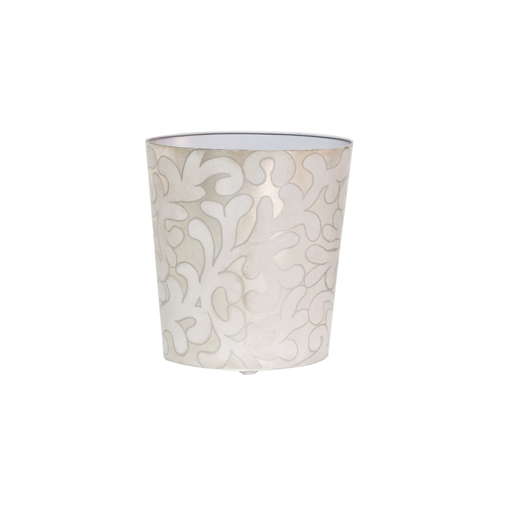 Worlds Away - Oval Wastebasket Lavender and Silver