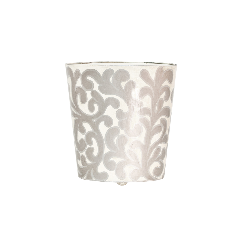 Worlds Away - Oval Wastebasket with Cream and Silver