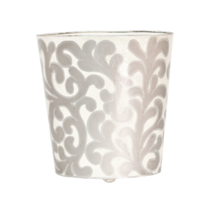 Thumbnail of Worlds Away - Oval Wastebasket with Cream and Silver