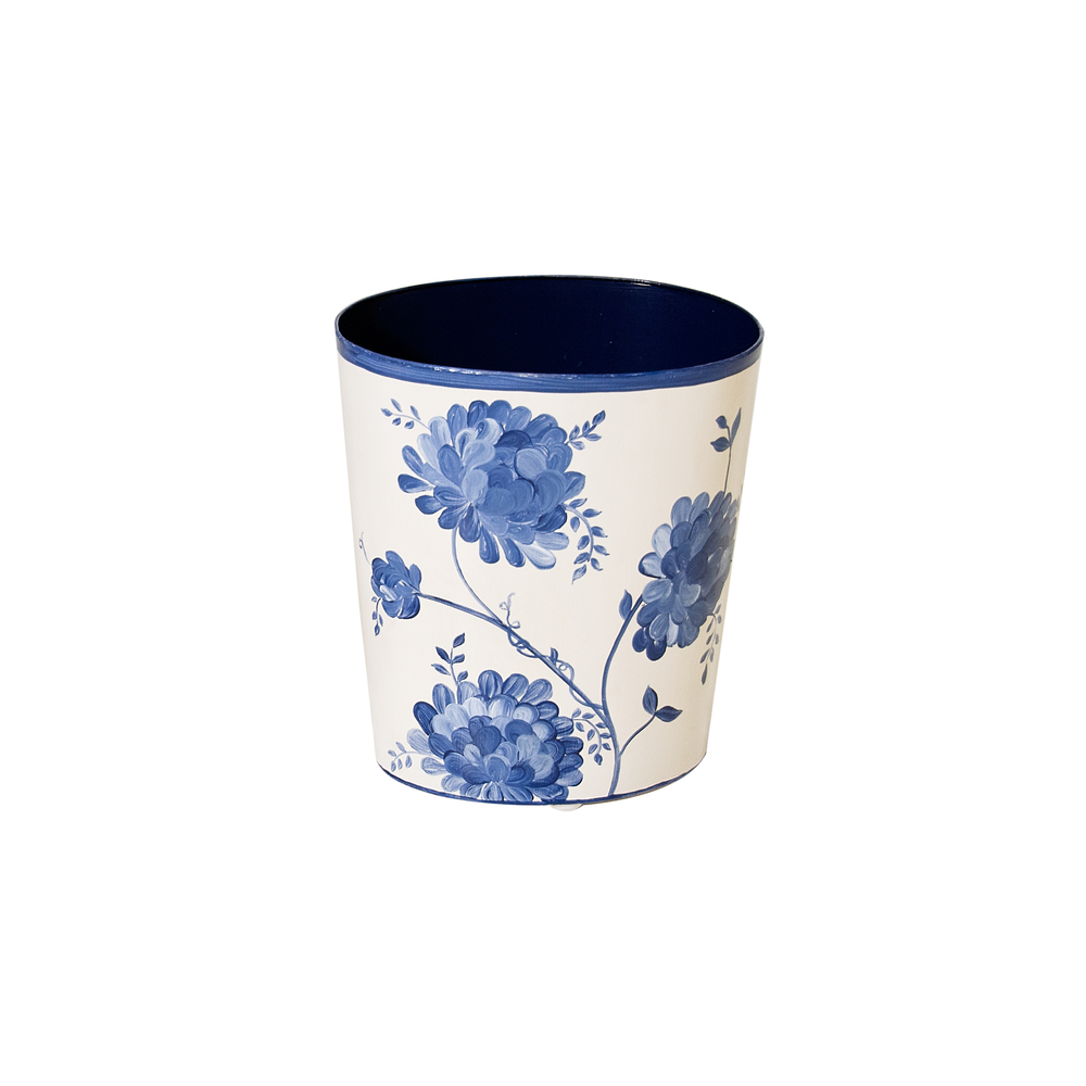 Worlds Away - Oval Wastebasket Blue and White