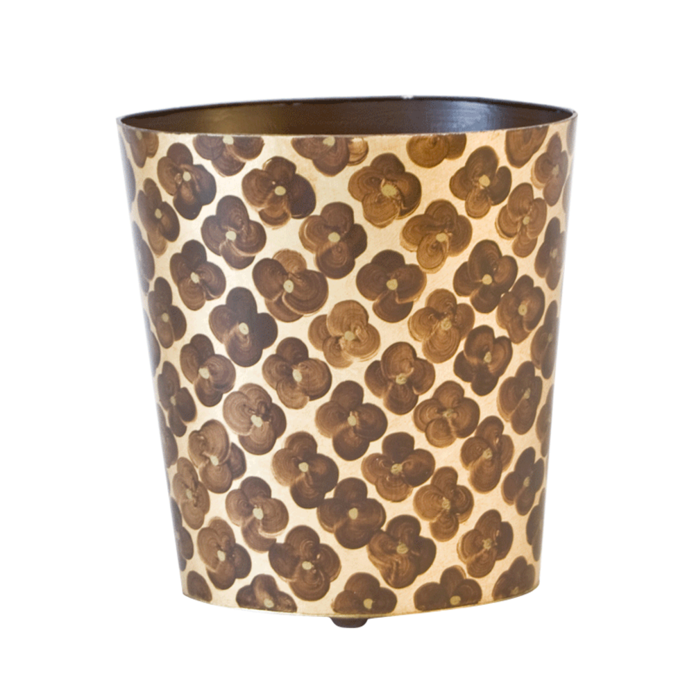 Worlds Away - Oval Wastebasket with Brown and Gold