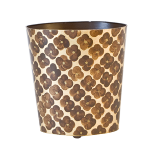 Thumbnail of Worlds Away - Oval Wastebasket with Brown and Gold