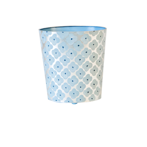 Thumbnail of Worlds Away - Oval Wastebasket Blue and Silver