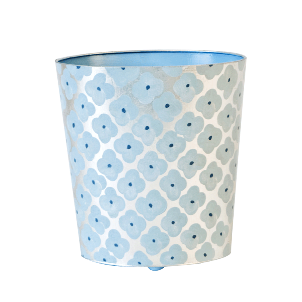 Worlds Away - Oval Wastebasket Blue and Silver