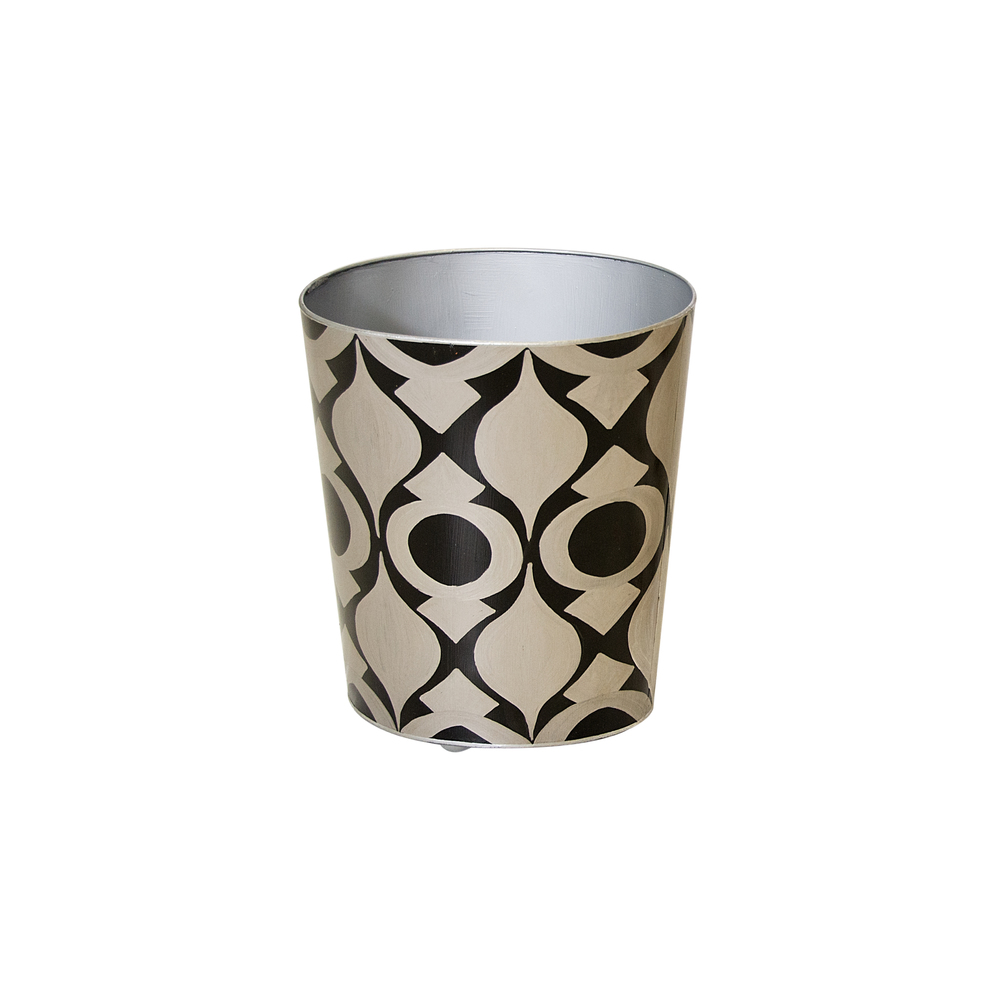 Worlds Away - Oval Wastebasket Silver and Black