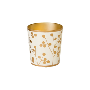Thumbnail of Worlds Away - Oval Wastebasket Gold and Cream