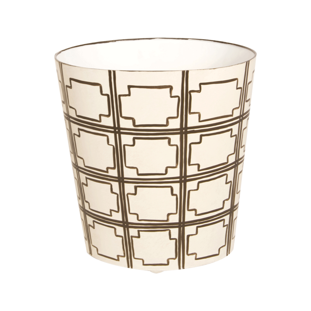 Worlds Away - Brown and Cream Wastebasket