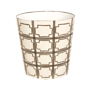 Thumbnail of Worlds Away - Brown and Cream Wastebasket