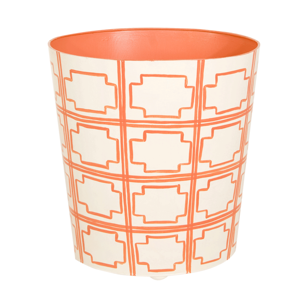 Worlds Away - Orange and Cream Wastebasket