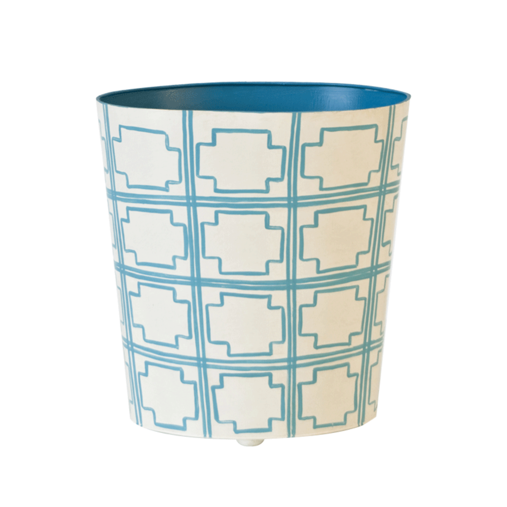 Worlds Away - Turquoise and Cream Wastebasket