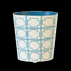 Thumbnail of Worlds Away - Turquoise and Cream Wastebasket