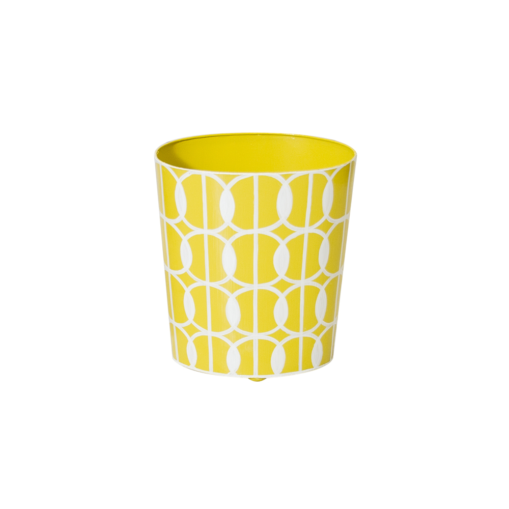 Worlds Away - Oval Wastebasket Yellow and Cream