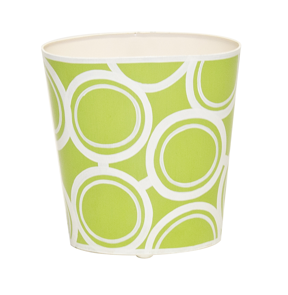 Worlds Away - Green and Cream Wastebasket