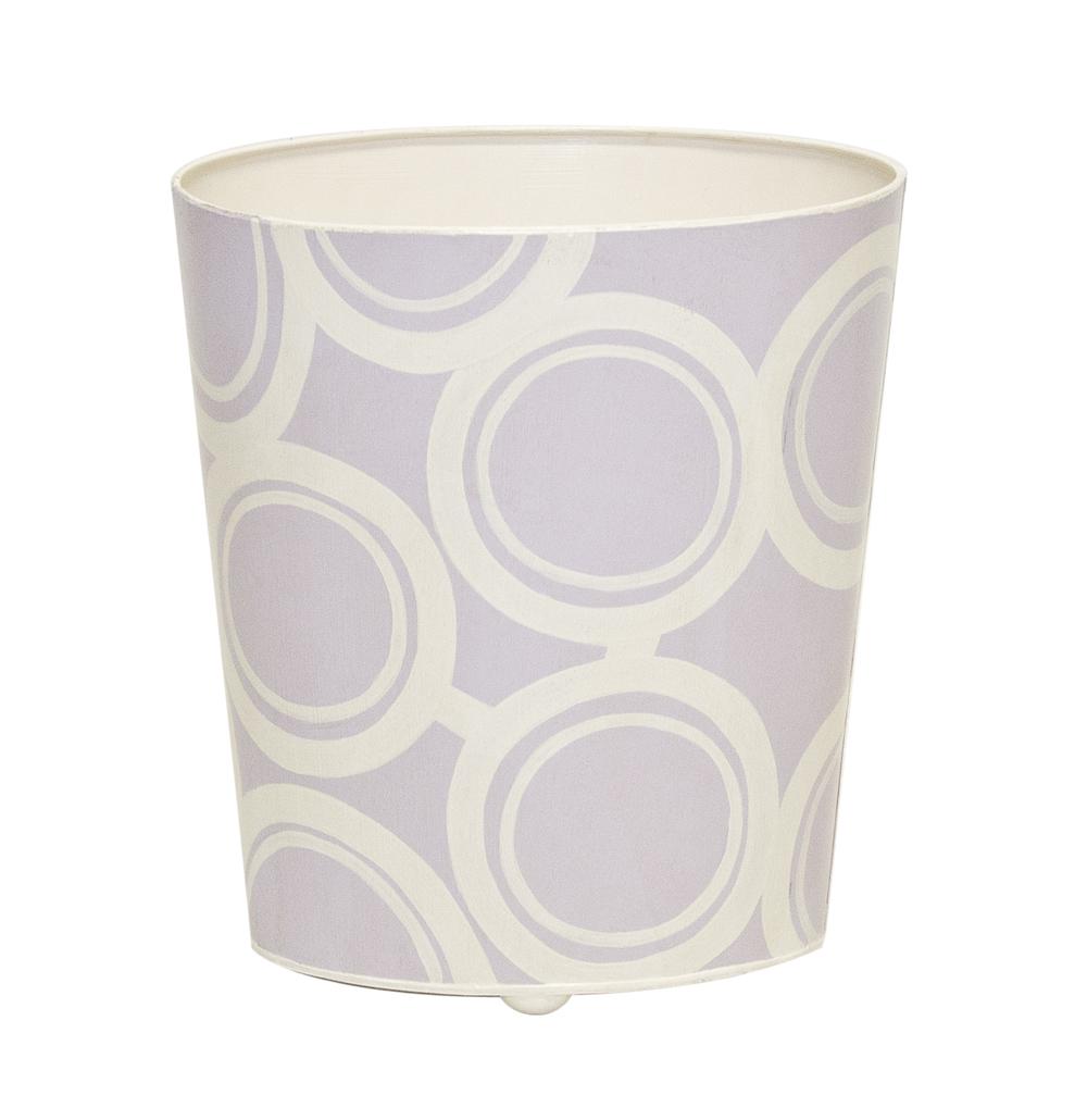 Worlds Away - Lavender and Cream Wastebasket