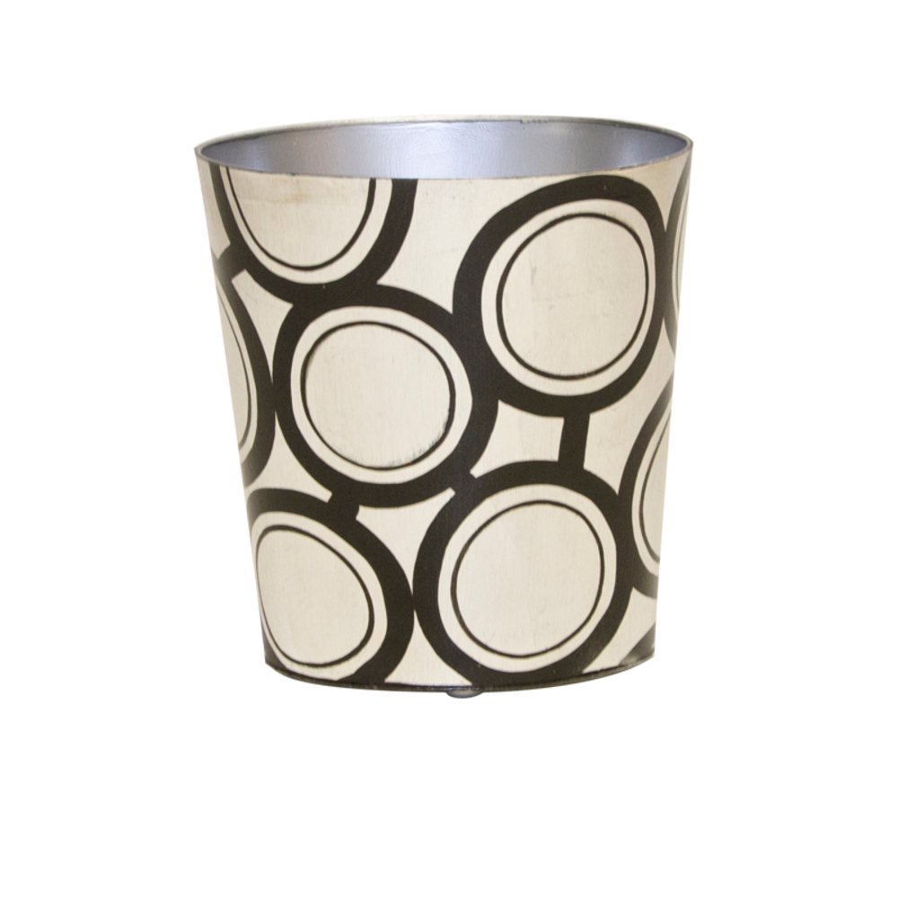 Worlds Away - Black and Silver Wastebasket