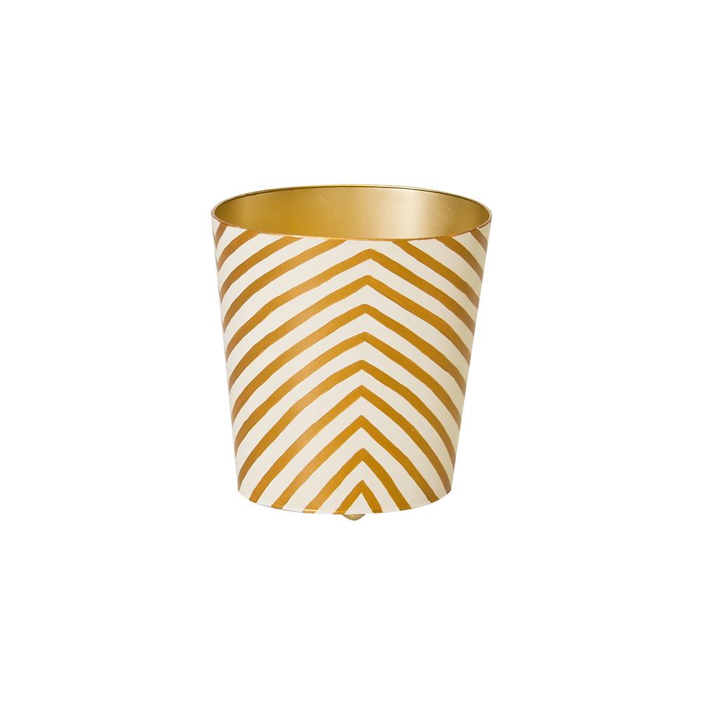 Worlds Away - Oval Wastebasket Zebra Gold and Cream