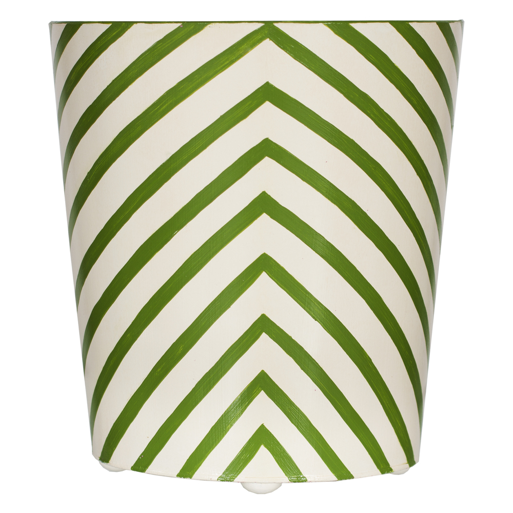 Worlds Away - Zebra Wastebasket in Green