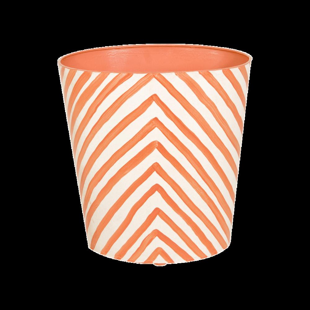 Worlds Away - Wastebasket in Orange Zebra Print