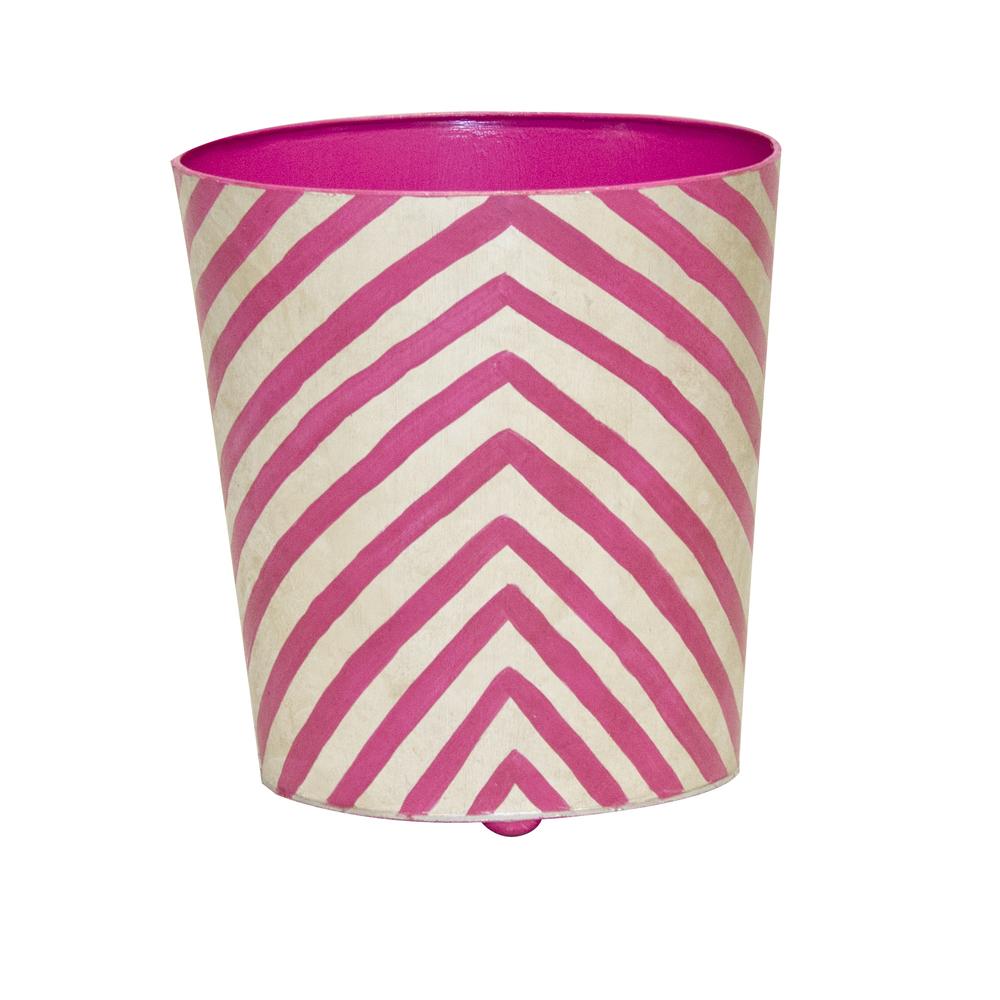 Worlds Away - Zebra Print Wastebasket Pink and Cream