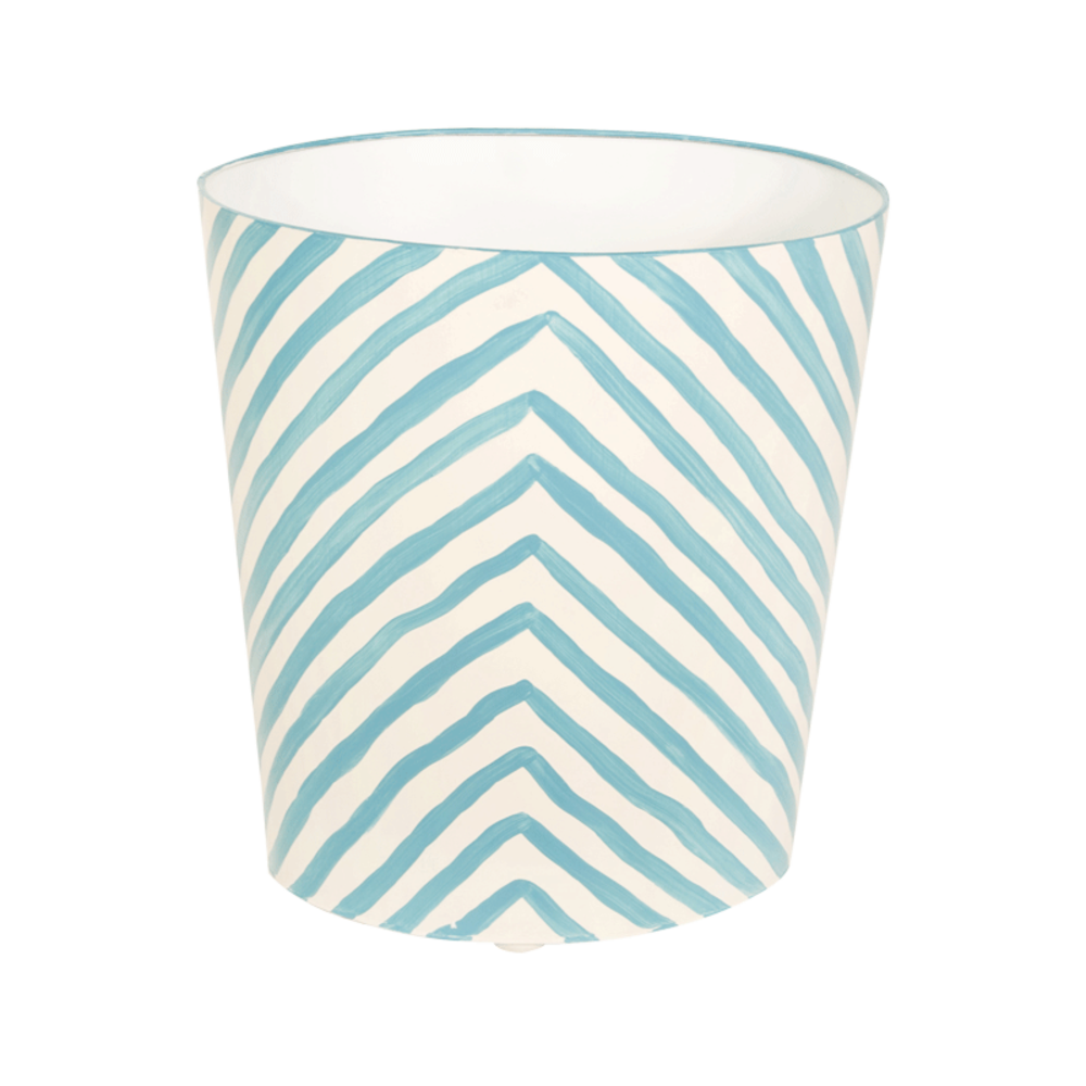 Worlds Away - Zebra Print Wastebasket in Turquoise