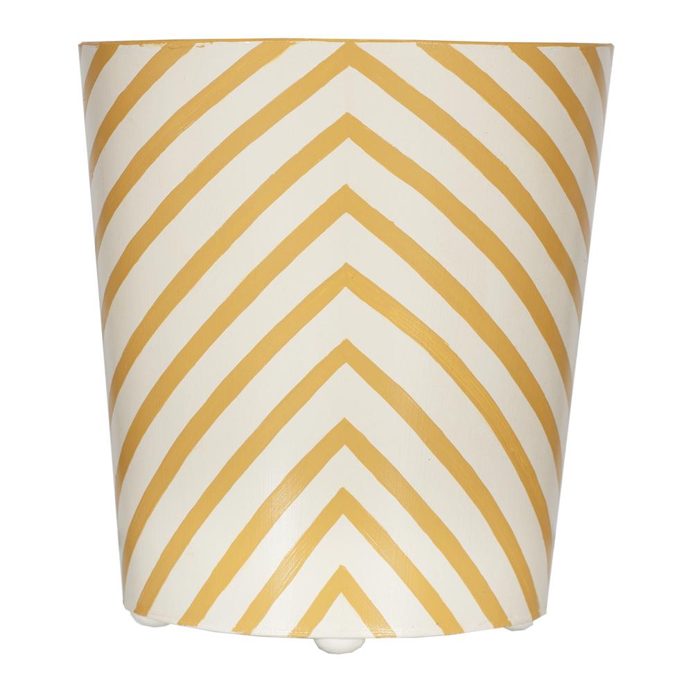 Worlds Away - Zebra Print Wastebasket in Yellow