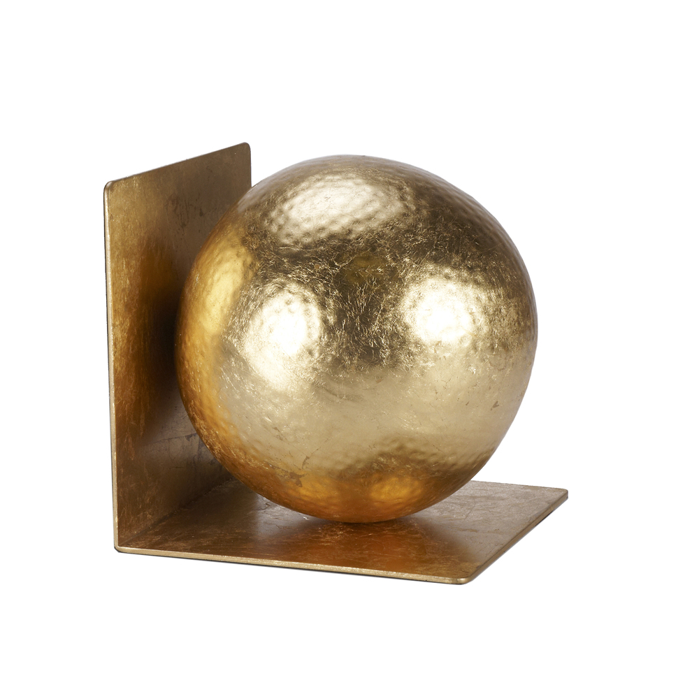 Worlds Away - Gold Leaf Hammered Ball Bookends, Pair