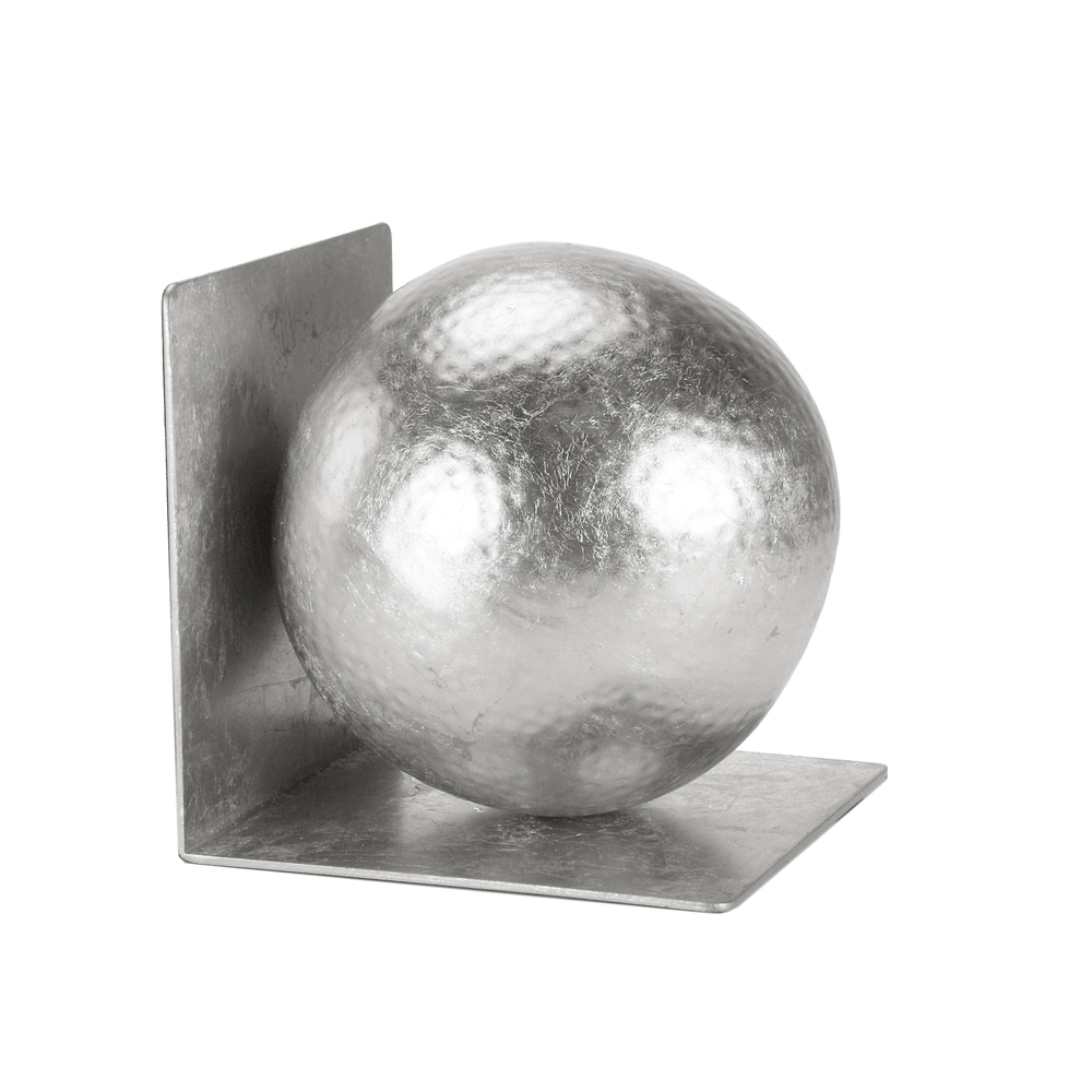 Worlds Away - Silver Leaf Hammered Ball Bookends, Pair
