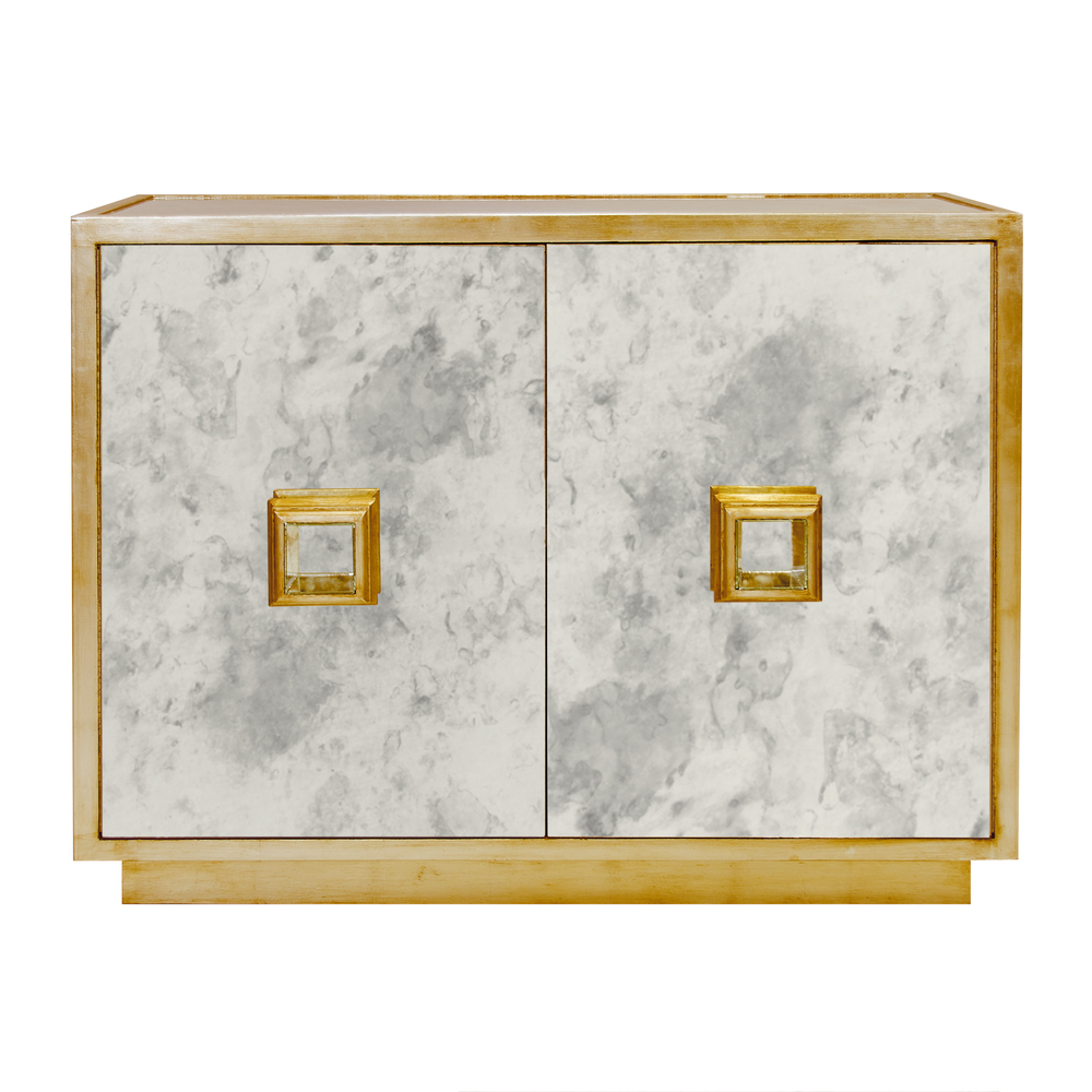 Worlds Away - Antique Mirror Two Drawer Chest in Gold Leaf
