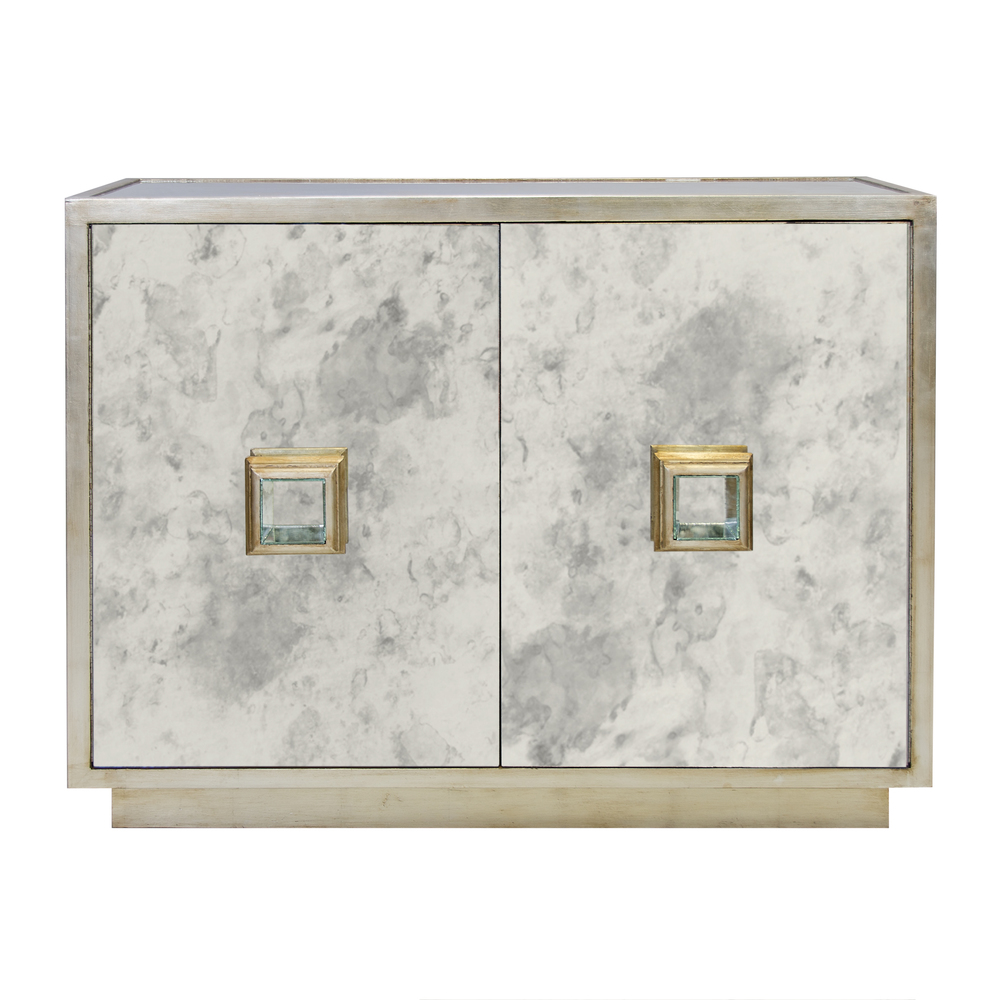 Worlds Away - Antique Mirror Two Drawer Chest in Silver Leaf