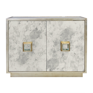 Thumbnail of Worlds Away - Antique Mirror Two Drawer Chest in Silver Leaf
