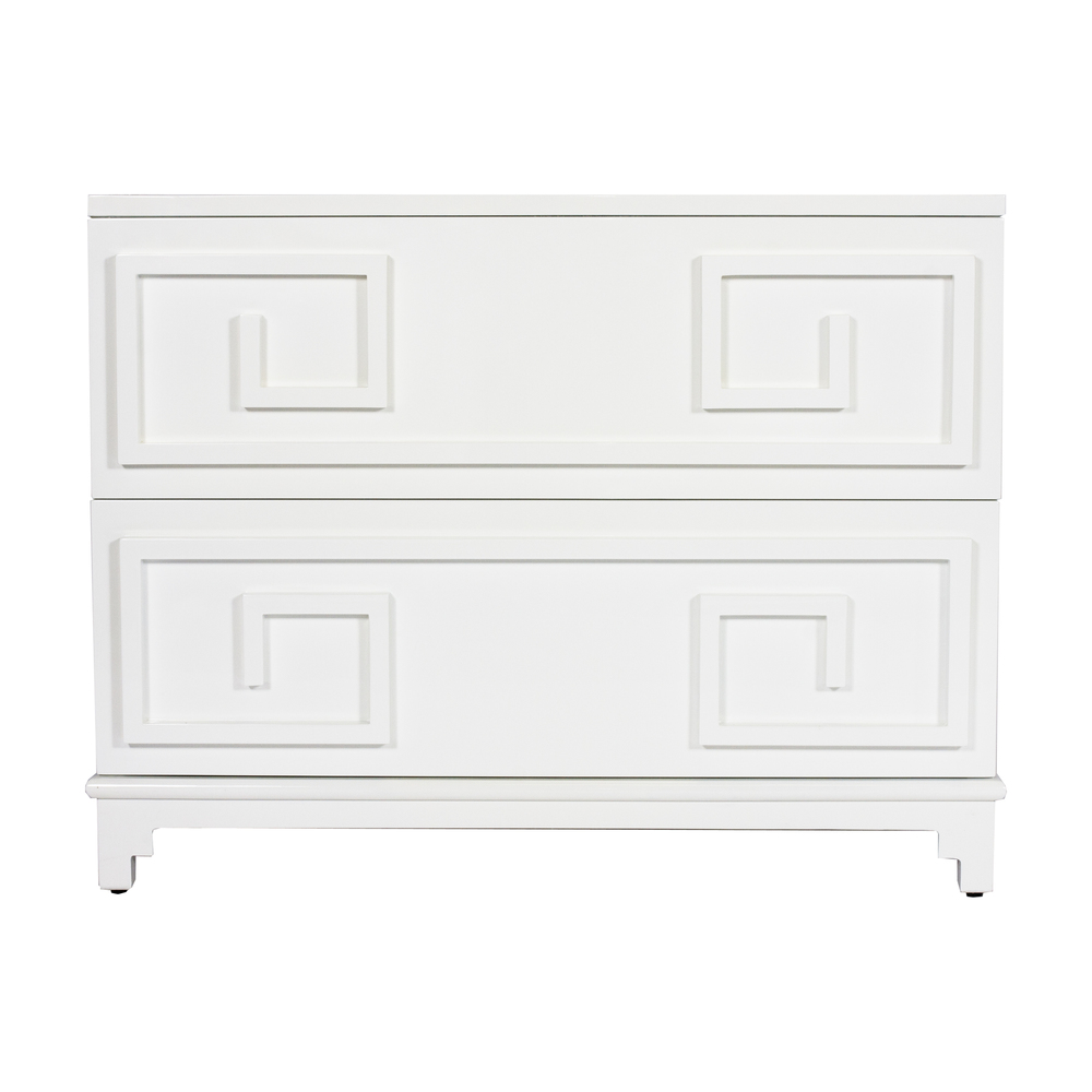 Worlds Away - Oriental Two Drawer Chest in White Lacquer