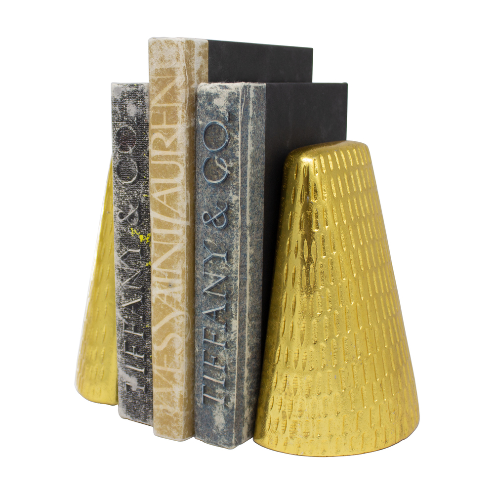 Worlds Away - Pair Of Hammered Antique Brass Bookends