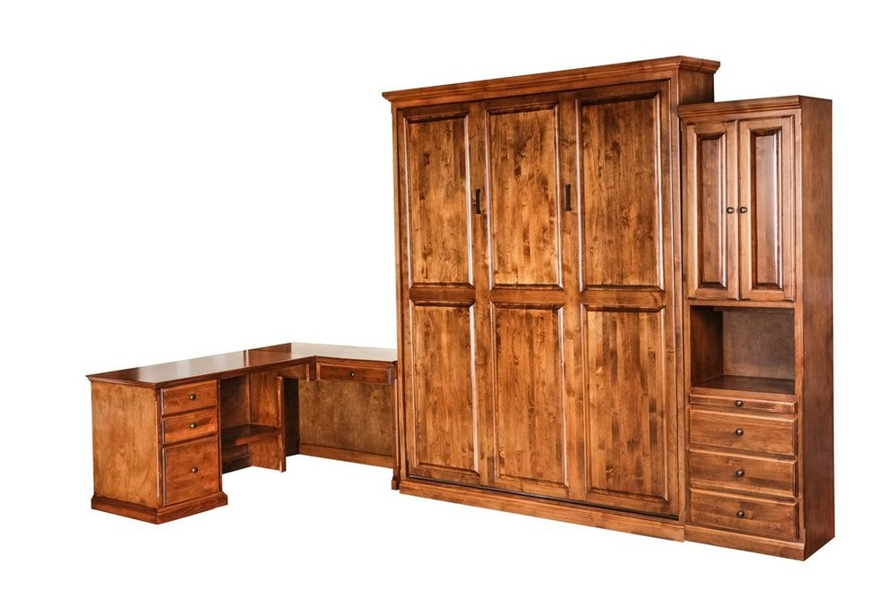 Forest Designs - Traditional Alder Open Queen Murphy Wall Bed, Pier & Desk